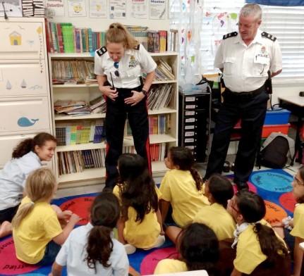 Officers Visit the St. Ignatius Brownies